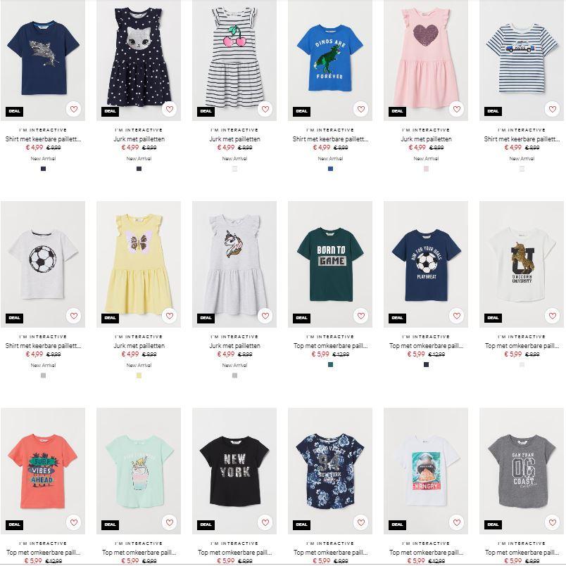 Diverse (keerbare) pailletten kleding €4,99 / €5,99 @ H&M