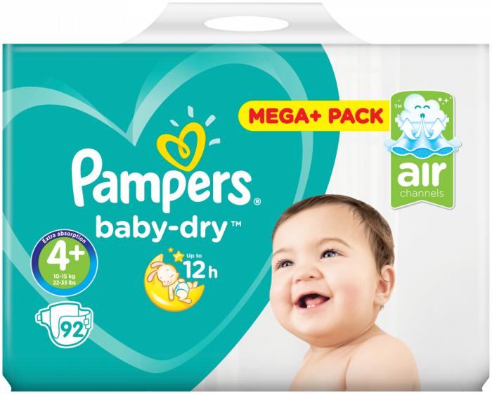 Pampers baby-dry maat 4+ 18cent per luier