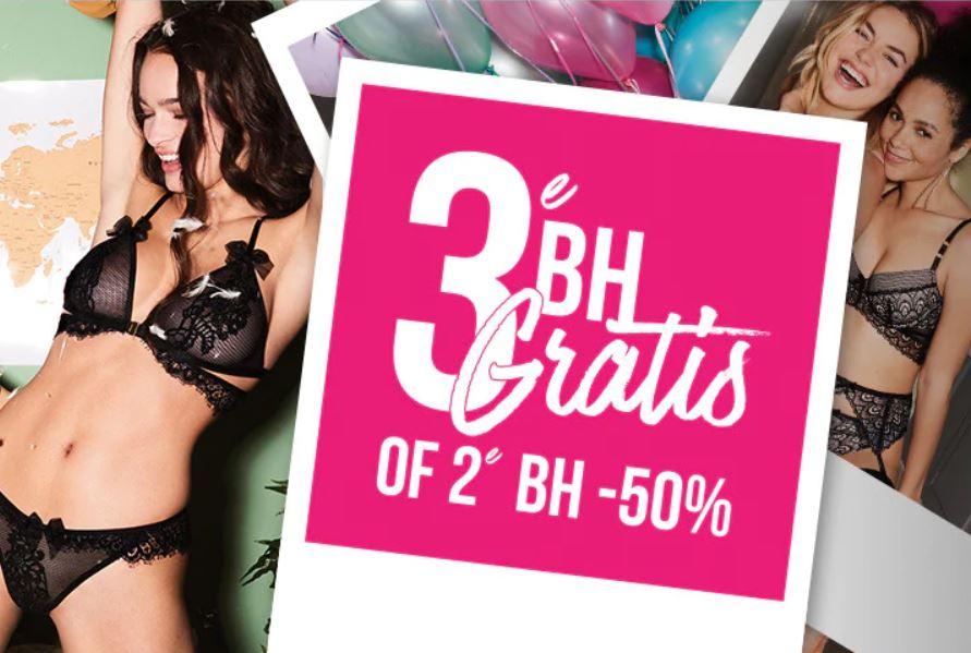 Bra Party! 3e BH gratis of 2e BH 50% bij Hunkemoller
