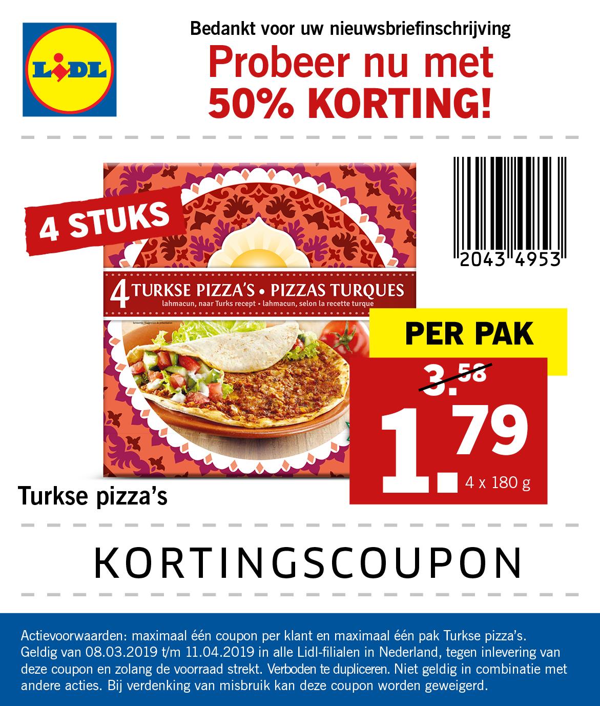 Coupon voor 50% korting op 4 Turkse pizza's