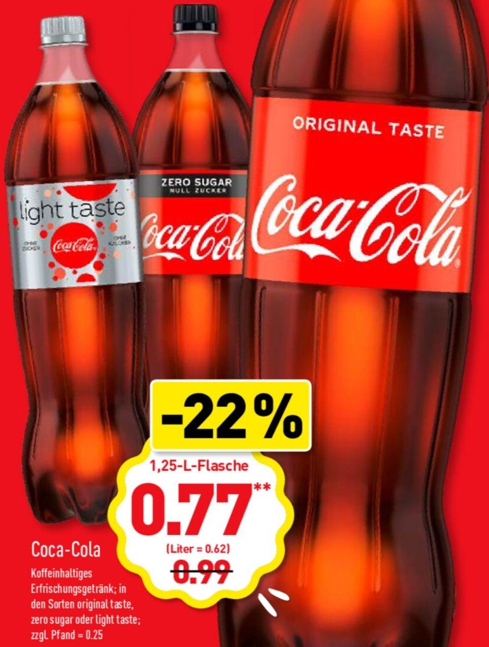 [Grensdeal DE] Alle 1,25L Coca-Cola, Fanta, Sprite en Mezzo Mix €0,77