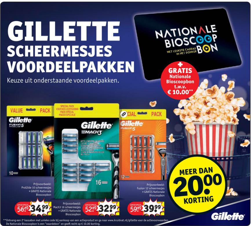 GRATIS Nationale Bioscoopbon t.w.v. 10 euro bij Gillette scheermesjes @Kruidvat