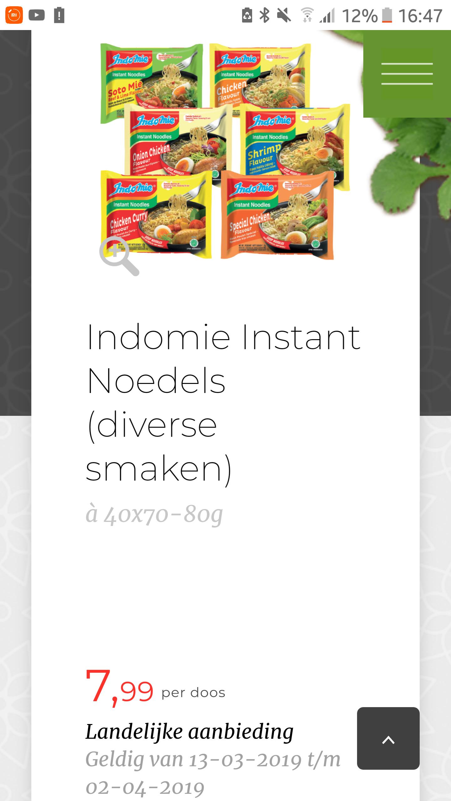 Indomie noodles doos 40 stuks €7.99 (€0.20 per stuk) @ amazing oriental