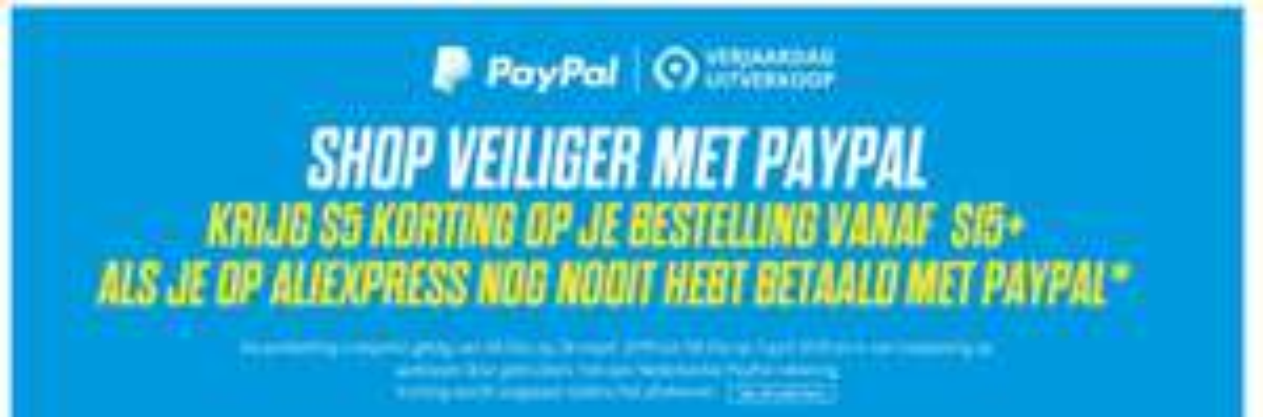 Aliexpress: betaal met PayPal en krijg $5 korting vanaf $15 besteding