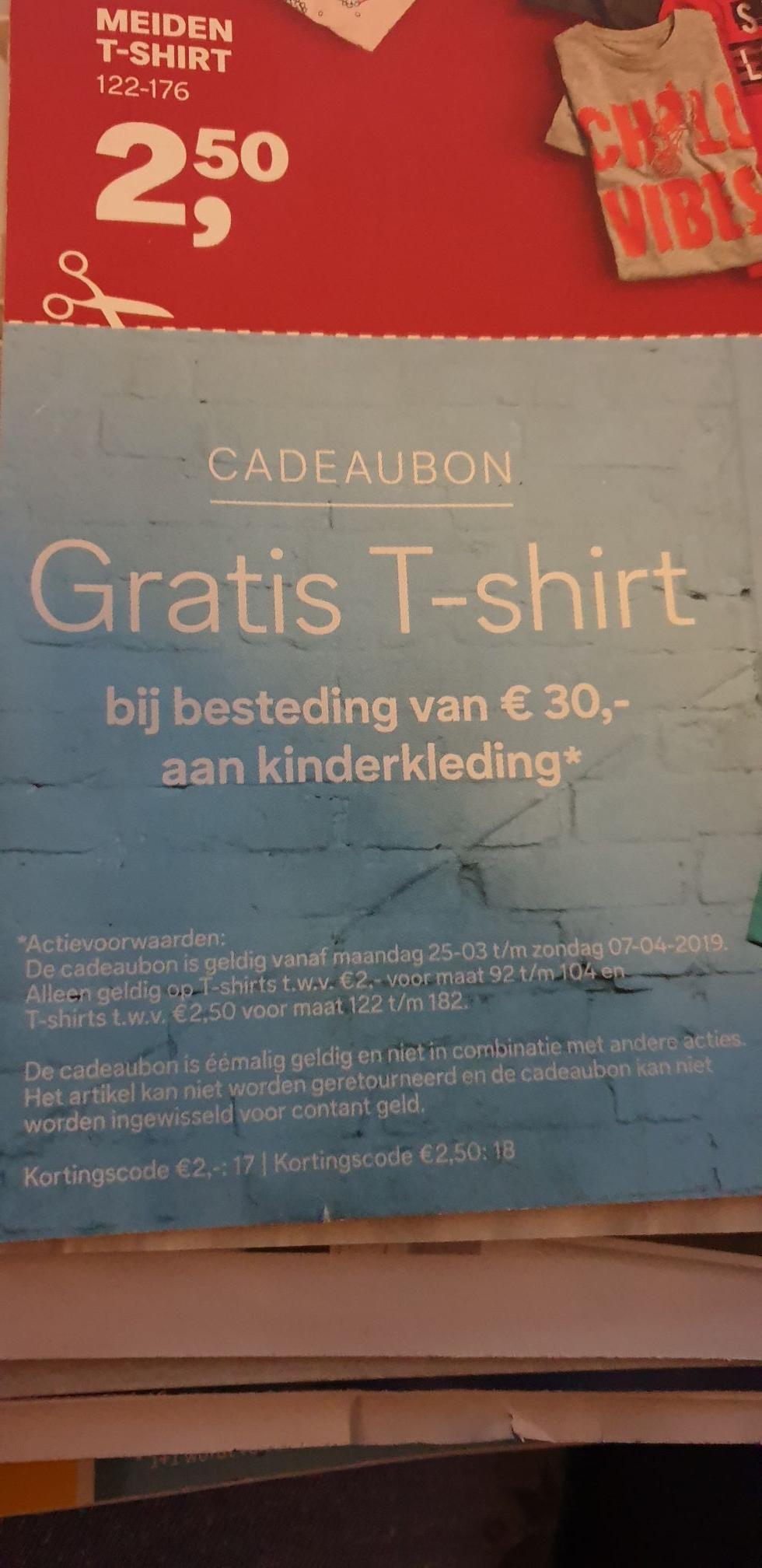 Gratis T-shirt bij besteding van 30euro aan kinderkleding @C&A