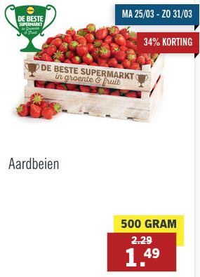 500 gram aardbeien voor 1,49 bij Lidl