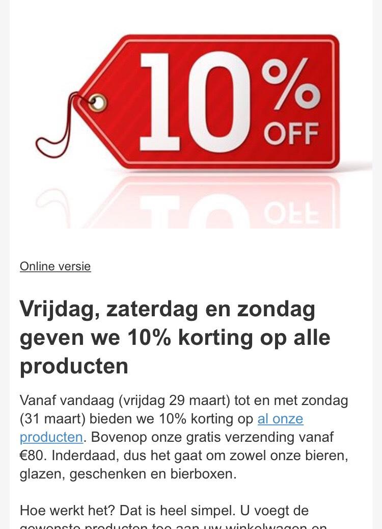 Vr, za en zo 10% korting op alle producten bij Belgium Beer Factory