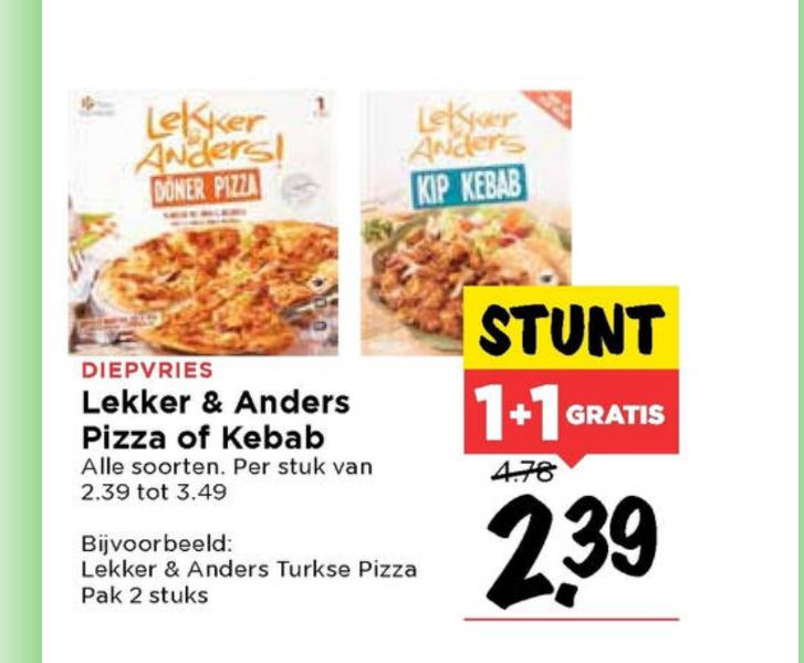 Turkse pizza of kebab, 2e gratis @ Vomar
