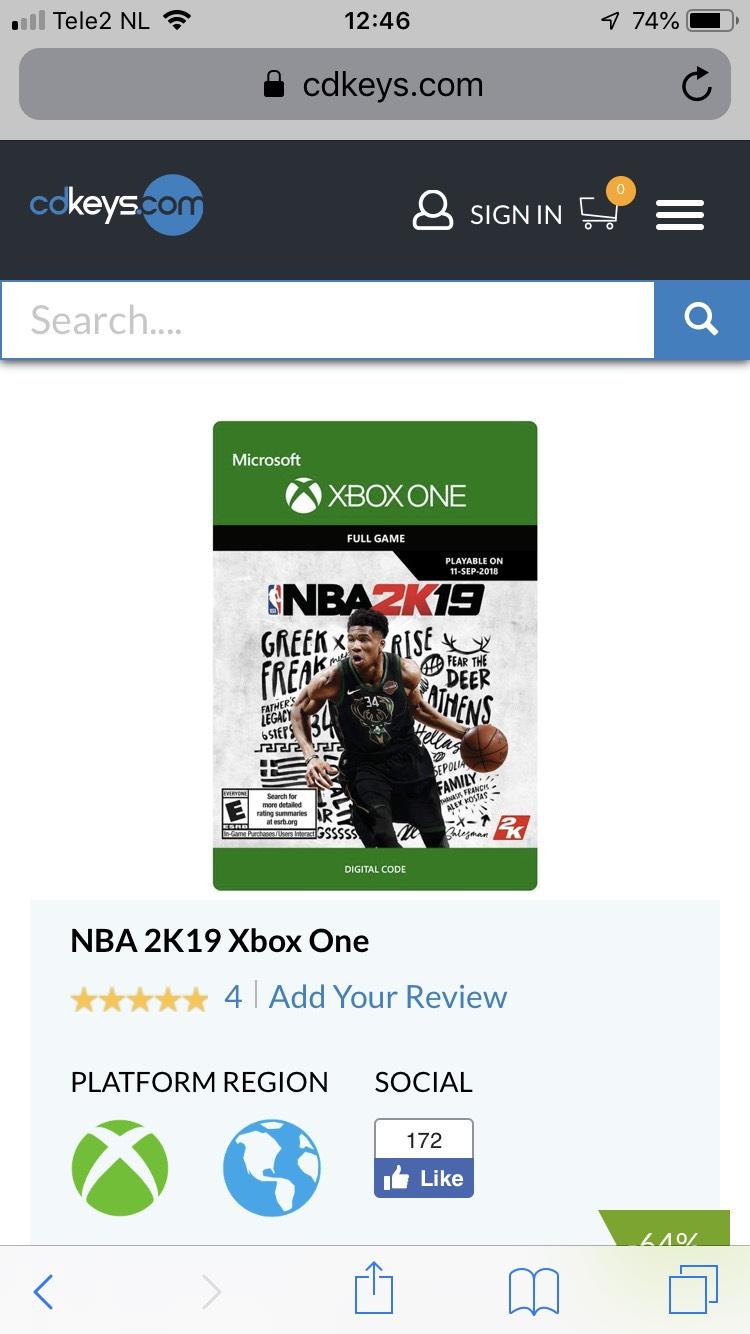 NBA 2k19 voor Xbox one bij CD Keys