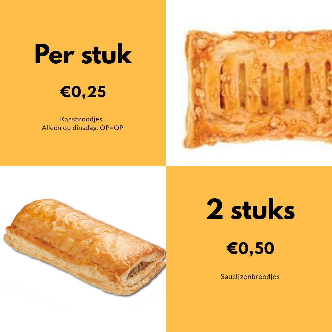 2 Saucijzenbroodjes voor €0,50 @Deen