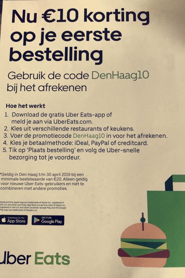 €10 korting op je eerste bestelling @ Uber Eats Den Haag