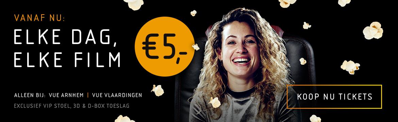 Vanaf nu: elke dag, elke film 5 euro (*) bij Vue Arnhem