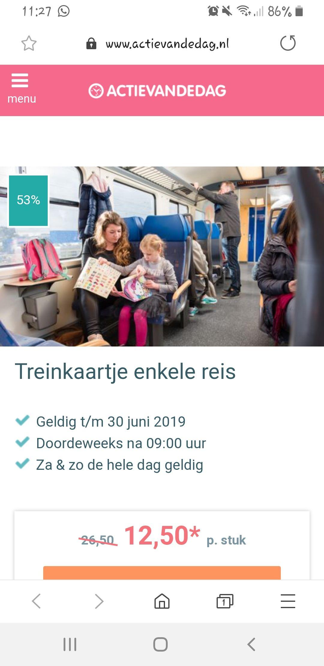 NS €12,50 enkele reis van en naar eigen bestemming