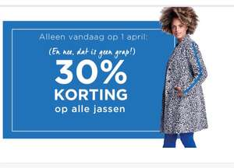 Miss Etam 30% korting op alle jassen (ook bovenop SALE) - alleen vandaag