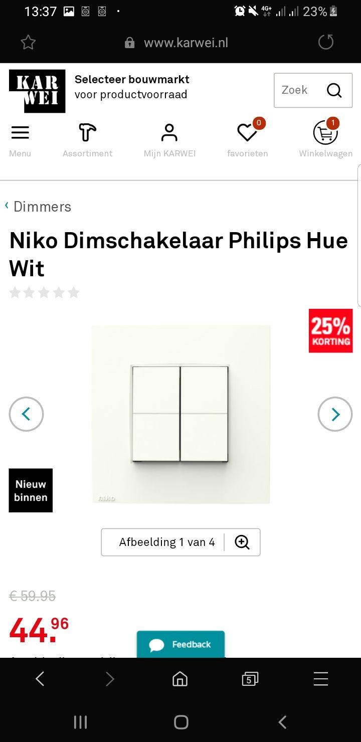 Niko Dimschakelaar Philips Hue wit of Antraciet in de winkel OOK bij de Gamma