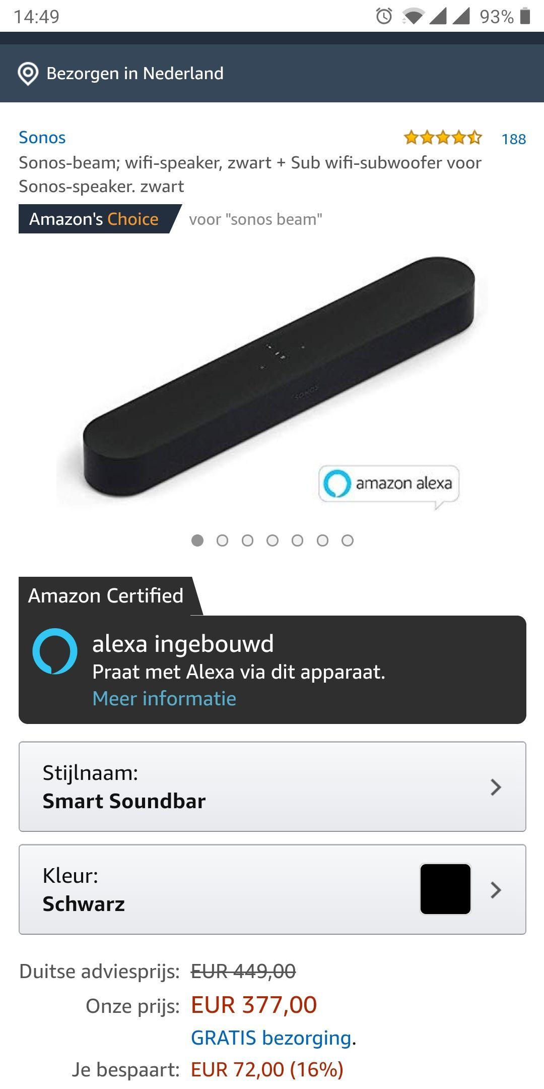 Sonos beam voor €377,- @Amazon,de