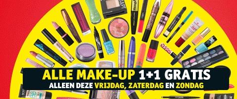 Dit weekend 1+1 GRATIS op alle make-up @ Kruidvat