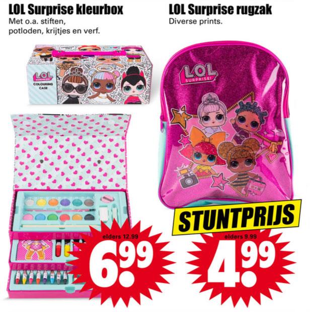 L.O.L. Surprise rugzak / tekenbox €4,99 / €6,99 @ Dirk