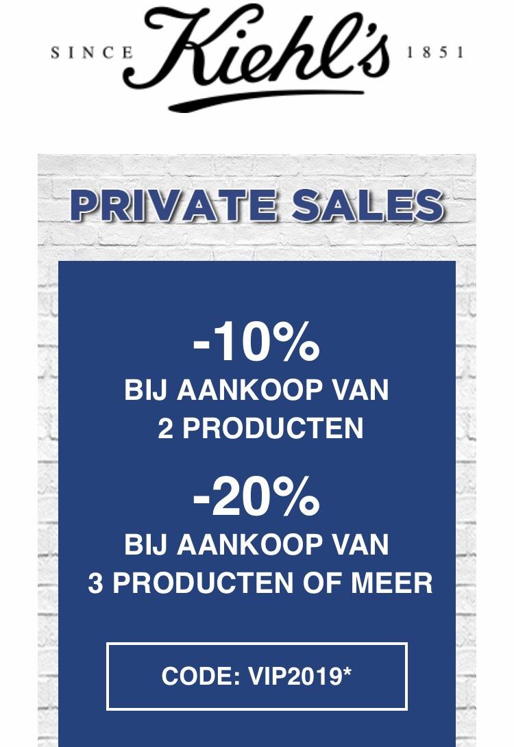 20% korting bij drie producten van Kiehls