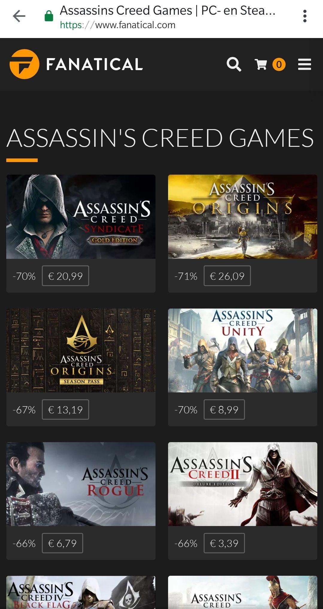 [Fanatical] tot 70% korting op Assassin's Creed games en season pass