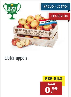 Elstar appels 1 kg voor 99 cent