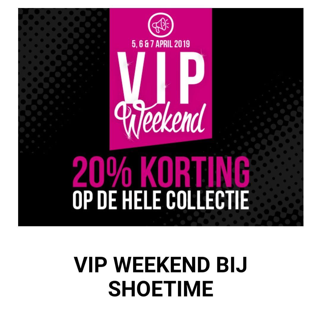 20% korting op de hele collectie bij de Shoetime Winkel en Shoetime online.