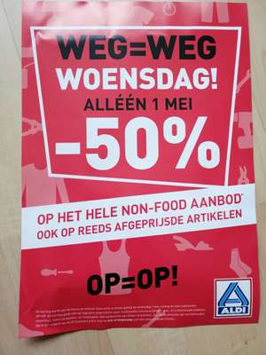 [Lokaal] 50% korting op non-food opruiming @ ALDI NOG EEN KEER!!