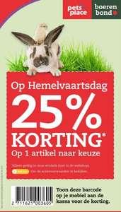 25% korting bij 1 artikel naar keuze Hemelvaart @Pets Place (winkel)