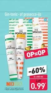 4 Gin-tonic of prosecco-ijsjes voor €0,99 bij Aldi