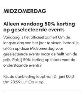 50% korting op geselecteerde tickets @Ticketmaster (alleen vandaag)
