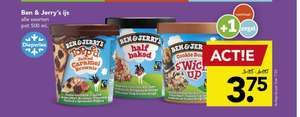 Alle soorten Ben & Jerry's voor €3,75 bij Deen en 2 soorten voor €2,49 bij Budgetfood