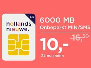 Hollandsnieuwe 6000Mb, 24maanden €10 p/m (ING Only)