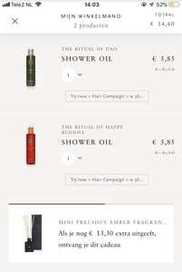 RITUALS : VIA DE APP! €5,85 voor shower Oil & vanaf €25 gratis mini sticks