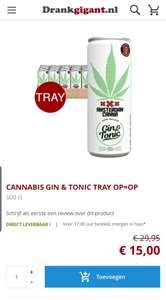 Tray (24blikjes) gin-tonic voor €15, vanaf €50 gratis verzending