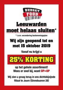Budget Food Leeuwarden - 50% korting op alles ivm sluiting winkel