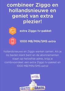 Combi deal hollandsnieuwe + Ziggo: Gratis 1000 mb/min/sms extra en Ziggo TV pakket