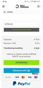 Bulkpowders.nl Extra 10% korting op alles.