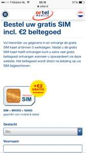 Gratis ortel simkaart met 2€ beltegoed
