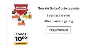 Nescafe Dolce Gusto capsules 3 doosjes voor €10