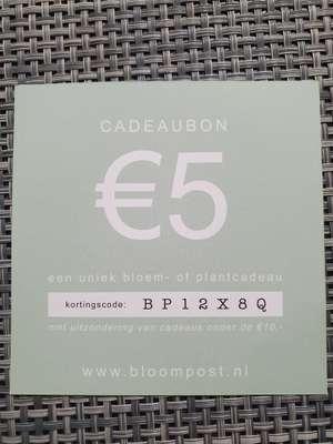 @Bloompost. €5 cadeaubon/korting
