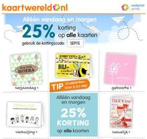 25% korting op ALLE kaarten @ Kaartwereld