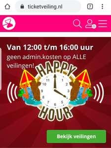 €5,- korting (geen administratie kosten) bij ticketveiling.nl tot 16:00 uur