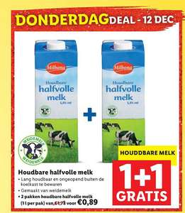 1 + 1 Gratis op houdbare halfvolle melk bij Lidl