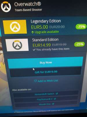 Upgrade Overwatch Legendary edition (pc only?)