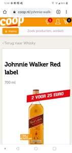 2 flessen Johnnie Walker Scotch Whiskey Red label 700 ml