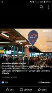 Foodsy 3 euro korting op Schiphol, maar ook geldig op andere stations. Min 5 euro