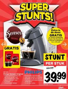 Senseo Original €39,99 + gratis koffiepads en glazen twv €20 @Vomar