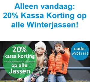 Vandaag 20% (extra) korting op alle merkjassen @Kinderkleding.nl