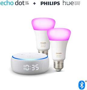 [Grensdeal] Echo Dot Gen.3 (Klok en Alexa geïntegreerd) + 2x Philips Hue Color (E27)