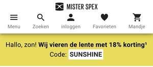 18% korting op alle brillen, zonnebrillen en contactlenzen op misterspex.nl